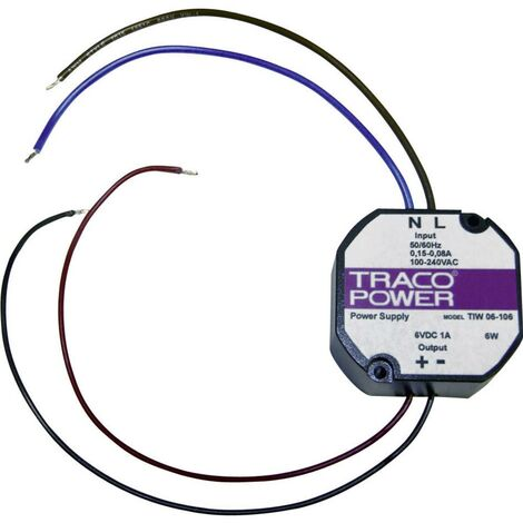 Alimentation encastrable CA/CC TracoPower TIW 06-106 TIW 06-106 1 A 6 W 6 V/DC 1 pc(s)