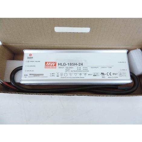 Alimentation LED étanche prim 240V AC sec 24V DC 185W max pour luminaire (HLG-185H-24) IP67 MEANWELL TRAJECTOIRE 003801