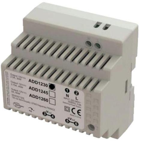 Alimentation pour rail DIN 5 modules 230 Volts AC sortie 12 Volts DC 5,5 Ampères