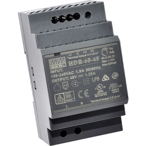 """main image of """"Alimentation rail DIN Mean Well HDR-60-24 HDR-60-24 24 V/DC 2.5 A 60 W 1 x 1 pc(s) C017401"""""""