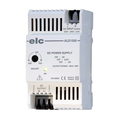Alimentation RAIL DIN stabilisée ELC ALE1202 12 V/DC (10 à 15V) 2.5 A 30 W ELC ALE1202 12 V/DC 2.5 A 30 W