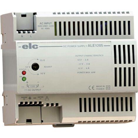 Alimentation RAIL DIN stabilisée ELC ALE1205 12 V/DC (10 à 15V) ; 5 A ; 60 W ELC ALE1205 12 V/DC 5 A 60 W