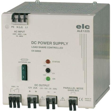 Alimentation RAIL DIN stabilisée ELC ALE1225 ; 12 V/DC (10 à 15V) ; 25 A ; 300 W ; PRIM. 230V à 440V V07125