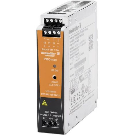 Alimentation rail DIN Weidmüller PRO MAX 72W 24V 3A 1478100000 24 V/DC 3 A 72 W 1 pc(s)