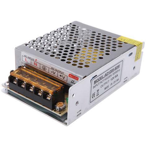 Transformateur Bloc D/'Alimentation Cv 12V 5A 60W avec Prise de Maison AC220V A