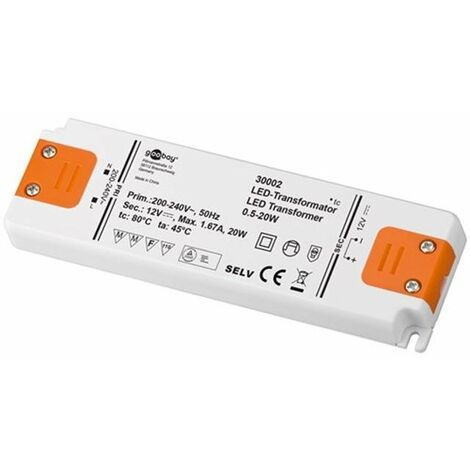 Alimentatore 12 volt 0 5 20 watt per lampadine led faretti for Lampadine led 1 watt