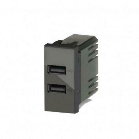 2 PZ Moduli Caricatore USB 5V 2,1A Compatibile Placca Vimar Plana Colore Bianco