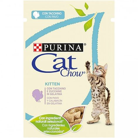 Alimento Húmedo Completo PURINA CAT CHOW PAVO para Gatos Junior 12 x 85 gr
