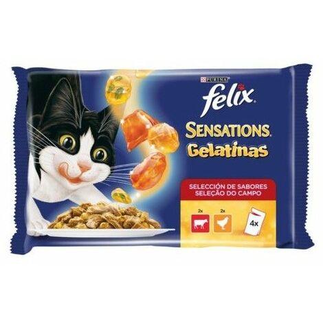 Alimento húmedo de carne para gato Purina Felix Gelatinas Sensations 4x100 gr