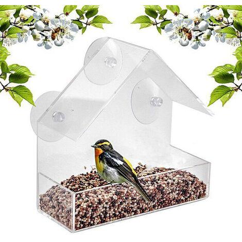 Alimentos para aves Ventana Alimentador del pajaro del alimentador del loro Caja exterior impermeable acrilico Birdfeeders Casa formada dispositivo de alimentacion aves con 4 ventosas