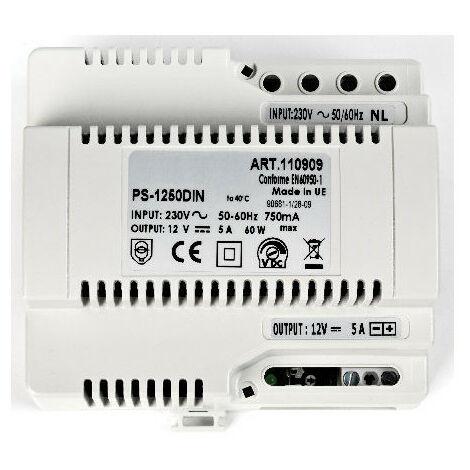 Alim.secteur 230VAC/12VCC 5A fixation DIN et à vis 6 modules AIPHONE PS1250DIN 110909
