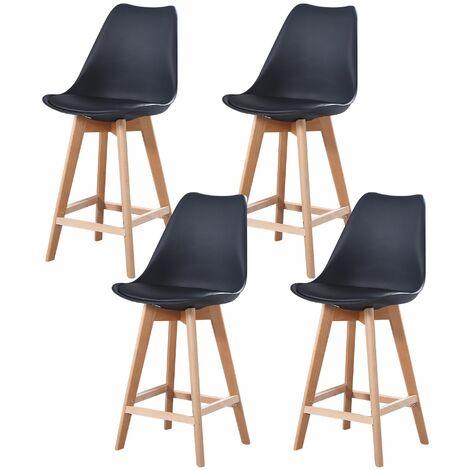 ALIX - Lot de 4 tabourets scandinave - Bleu canard - pieds en bois massif design salle a manger salon - 58 x 49 x 102 cm - Bleu canard
