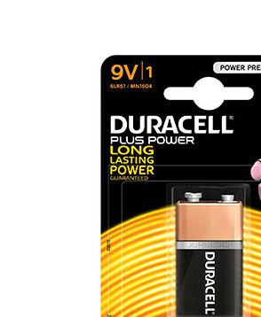 Alkaline battery (blister) Duracell Plus Power 6LR61 - Blister of 1 - 9V 680mAh