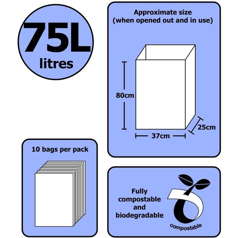 Sacchi per Rifiuti Compostabili da Giardino 10 Sacchi All-Green 75 litri 75L