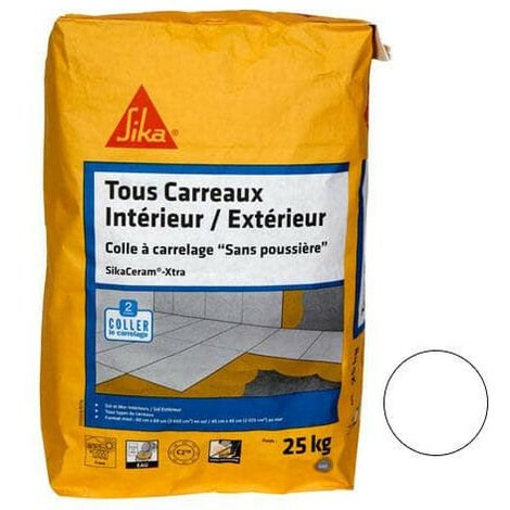 All-tile tile adhesive interior and exterior (C2-ET) - SIKA SikaCeram Xtra - White - 25kg