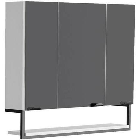Allibert - Armoire de toilette 80 cm avec 3 portes miroir et 6 étagères blanc mat - Faktory