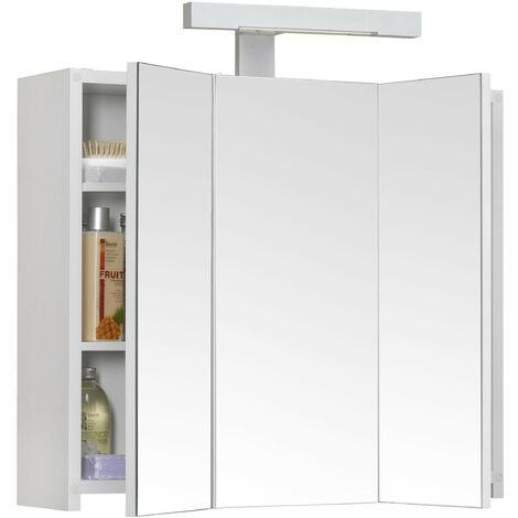 Allibert - Armoire de toilette éclairante 60 cm 3 portes miroirs Blanc brillant prise UTE - PIAN'O