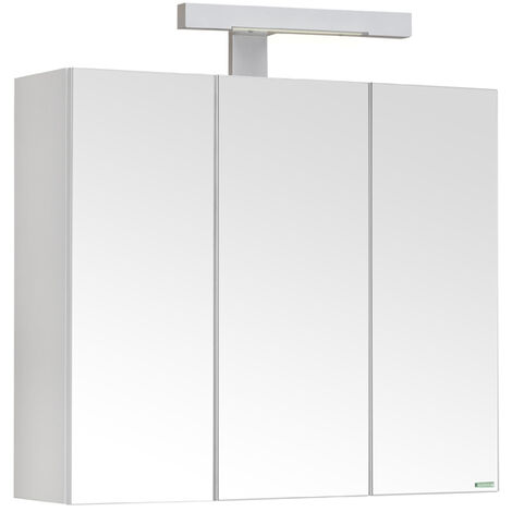 Allibert - Armoire de toilette éclairante 60 cm 3 portes miroirs Blanc brillant prise UTE - PIAN'O - TNT