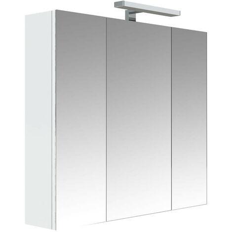 Allibert - Armoire de toilette éclairante 80 cm 3 portes miroirs Blanc  brillant prise UTE - JUNO