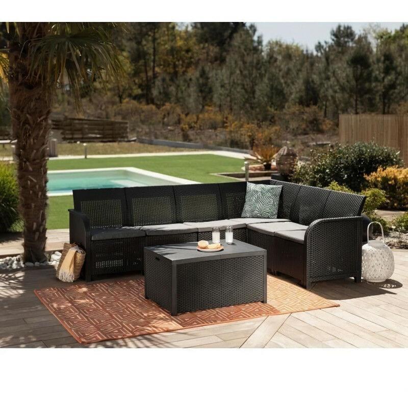 Canap? d'angle SanRemo Storage 6 places imitation rotin tressé avec table basse range-coussins - gris gra… - Allibert By Keter