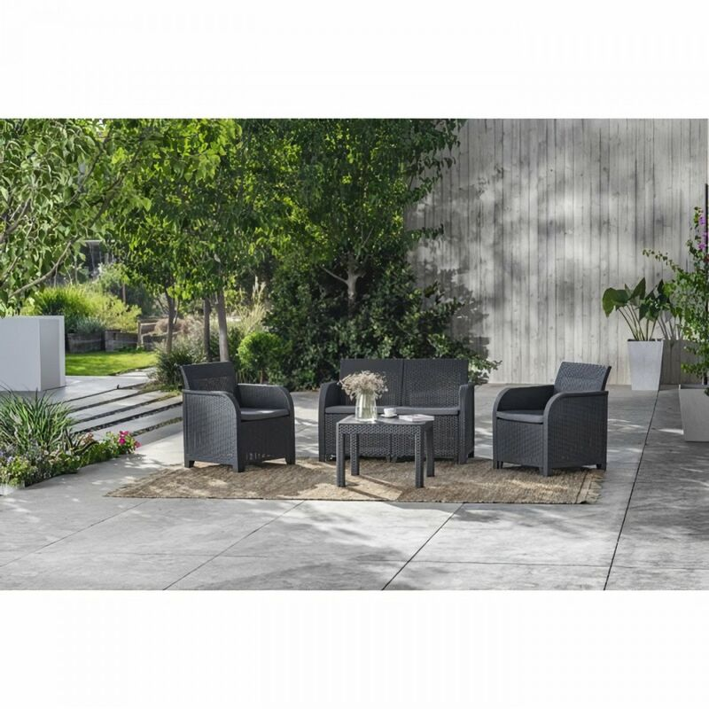 Salon de jardin SanRemo 4 places et table basse - imitation rotin tressé - gris graphite - Allibert By Keter