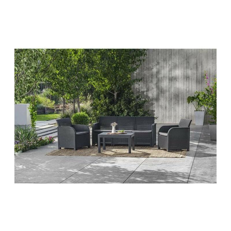 Salon de jardin SanRemo 5 places et table basse - imitation rotin tresse - gris graphite - Allibert By Keter