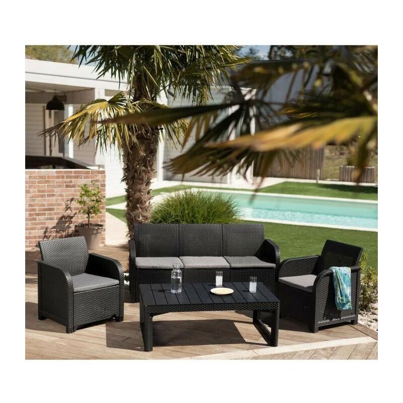 Salon de jardin imitation en rotin tresse 5 places - Table basse 2 positions - Gris graphite - SANREMO LYON - Allibert By Keter