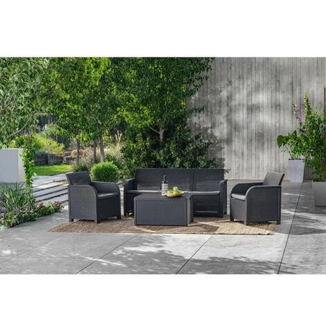 ALLIBERT by KETER - Salon de jardin SanRemo Storage 5 places - table basse coffre range-coussins - imitation rotin tresse - grap