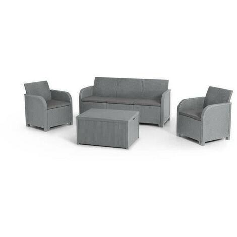 ALLIBERT by KETER - Salon de jardin SanRemo Storage 5 places - table basse coffre range-coussins - imitation rotin tresse - gris
