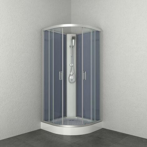 Allibert - Cabine de douche complète 1/4 rond 90 x 90 x 205 cm accès d'angle 2 portes coulissantes transparent argenté - HAPPY