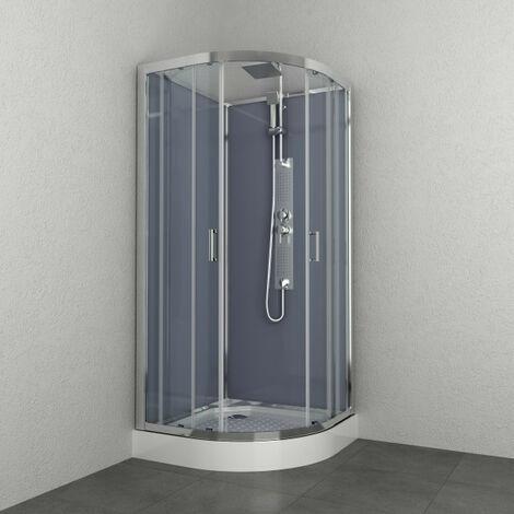 Allibert - Cabine de douche complète 1/4 rond 90 x 90 x 225 cm accès d'angle 2 portes coulissantes transparent argenté - EVEREST