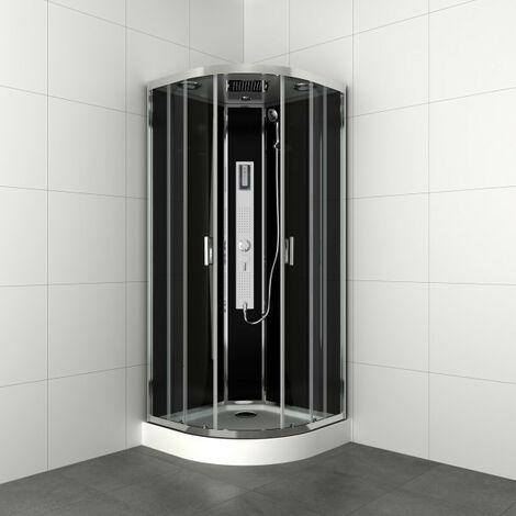 Allibert - Cabine de douche complète 1/4 rond 90 x 90 x 225 cm accès d'angle 2 portes coulissantes transparent chromé - GIPSY