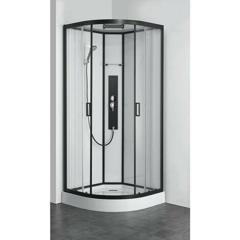 Allibert - Cabine de douche complète Quart de rond 90x90x225 cm verre transparent neutre profil noir - UYUNI