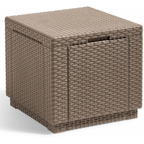 """main image of """"Allibert Cube Storage Pouffe Outdoor Garden Patio Chair Storage Ottoman Box Cube Footstool Home Foldable Organiser Graphite/Cappuccino"""""""