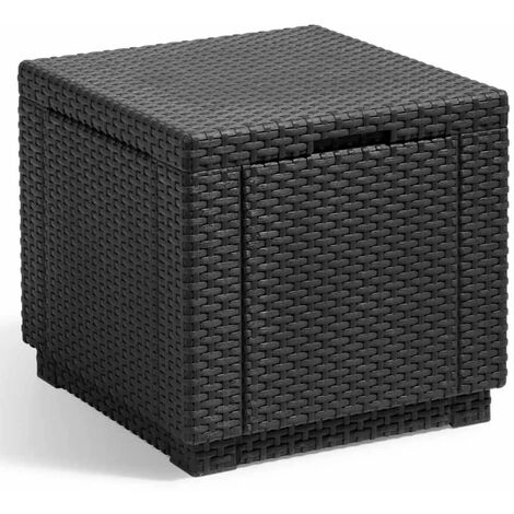 Allibert Cube Storage Pouffe Graphite 213816