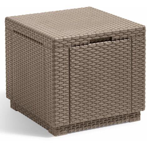 Allibert Cube Storage Pouffe Outdoor Garden Patio Chair Storage Ottoman Box Cube Footstool Home Foldable Organiser Graphite/Cappuccino