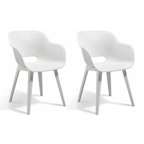 ALLIBERT JARDIN Lot de 2 fauteuils Akola - Coque blanc