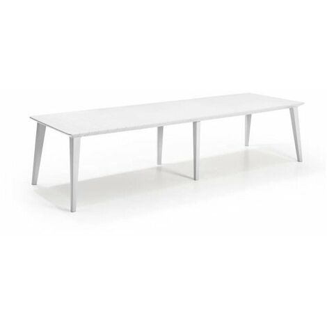 ALLIBERT JARDIN Table Lima 320 8-10 personnes avec allonge - Design contemporain - Blanc
