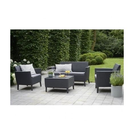 ALLIBERT Salon de jardin SALEMO 4 places en imitation resine tressee ...