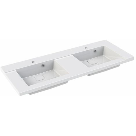 Allibert - Lavamanos 120 cm doble lavabo Blanco brillante - King