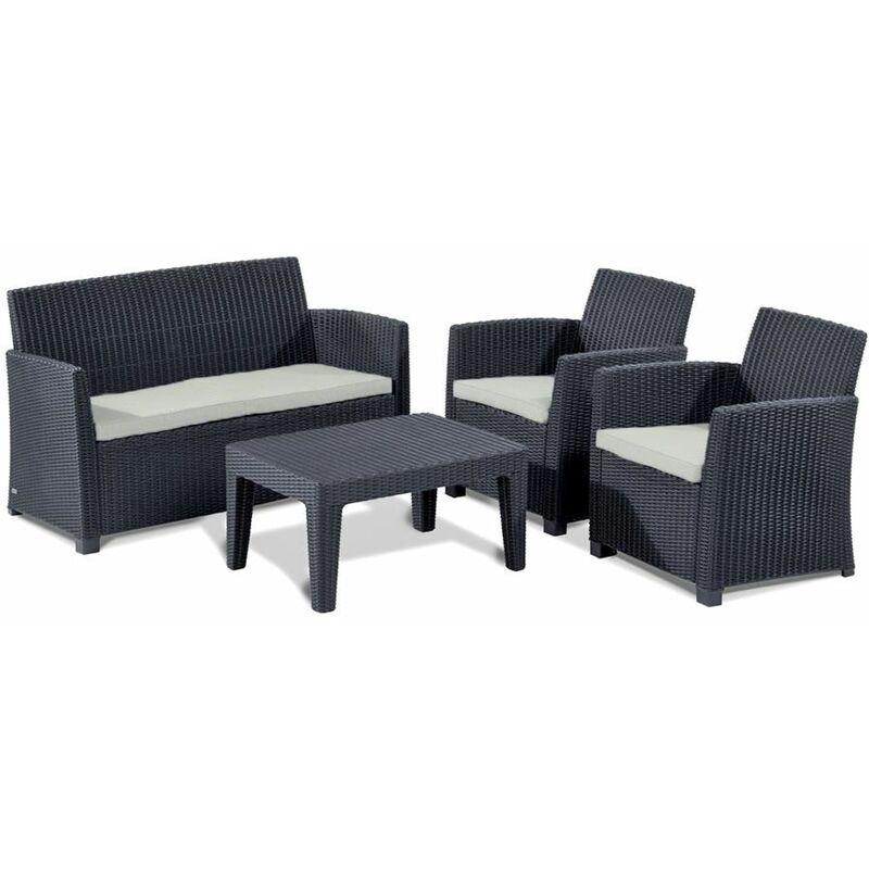 Lounge Sitzgruppe Merida Graphit Gartenmöbel Gartenset Terrassenmöbel - Allibert