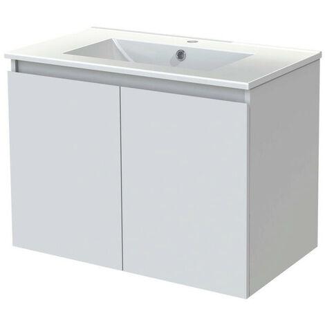 Allibert - Meuble sous-plan 80 cm 2 portes 1 étagère en bois couleur blanc brillant laqué - LIVO
