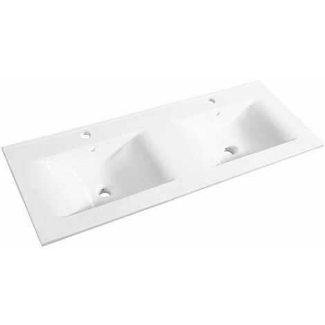 Allibert - Plan de toilette 120 cm double vasque céramique blanc - SOFT