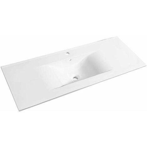 Allibert - Plan de toilette 120 cm simple vasque céramique blanc - SOFT