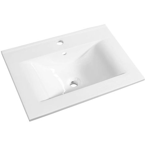Allibert - Plan de toilette 60 cm simple vasque céramique blanc - SOFT