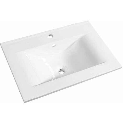 Allibert - Plan de toilette 70 cm simple vasque céramique blanc - SOFT