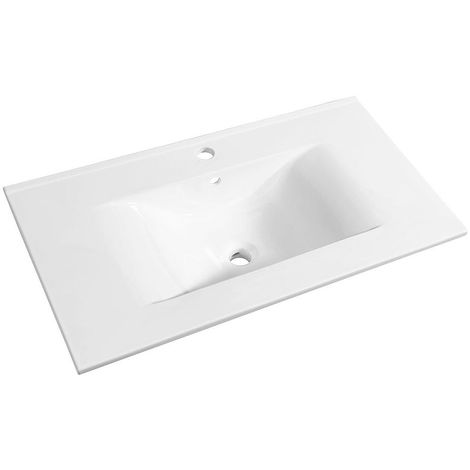 Allibert - Plan de toilette 80 cm simple vasque céramique blanc - SOFT