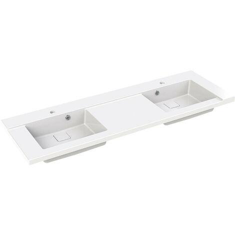 Allibert - Plan de toilette double vasque 140,2 x 3 x 46,2 cm Blanc brillant - KING