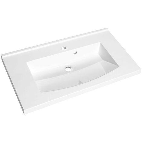 Allibert - Plan de toilette simple vasque 80 cm Blanc brillant - FLEX