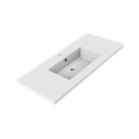 Allibert - Plan de toilette simple vasque céramique 80,5 x 3,5 x 46,2 cm Blanc brillant - TOBI